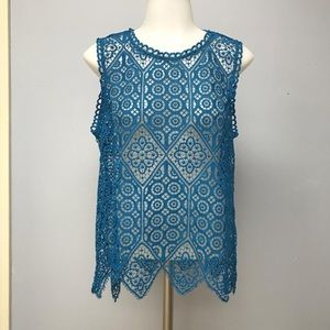 Anthropologie Deletta Scallop Lace Shell Top M